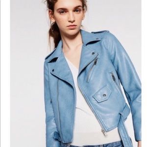 Zara light blue cropped leather faux jacket coat